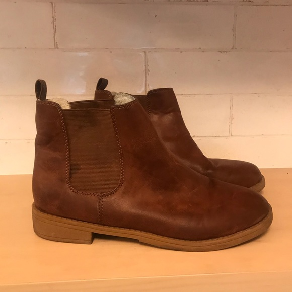 H M Brown Vegan Leather Ankle Boots